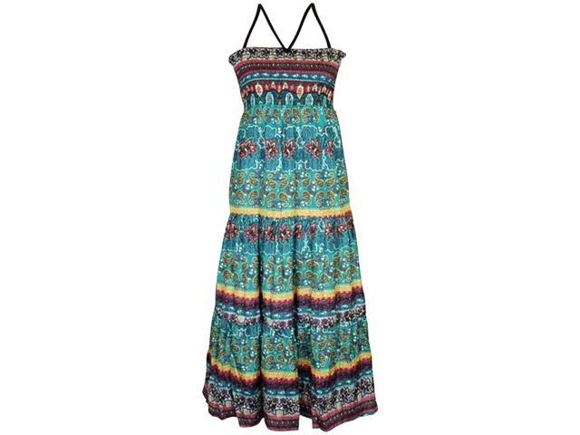 Teal Multicolor Scrolled Floral Boho Indie Print Maxi Dress