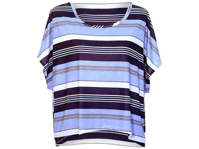 Light Blue Striped Multicolor High-Low Short Sleeve Blouse Top