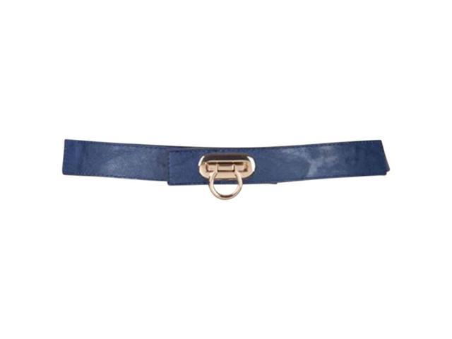 Blue Skinny Horse Shoe Buckle Elastic Stretch Belt