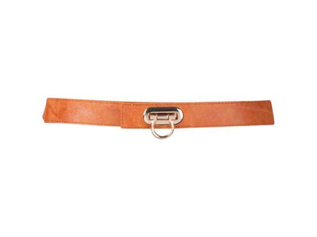 Orange Tan Skinny Horse Shoe Buckle Elastic Belt