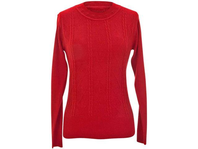 Red Cable Knit Crew Neck Long Sleeve Sweater