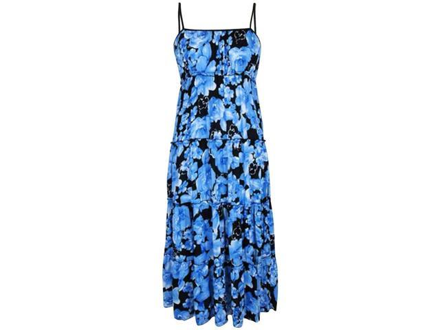 Black & Blue Floral Empire Waist Long Maxi Sun Dress