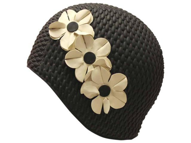 Black & White Latex Swim Bathing Cap With Flowers