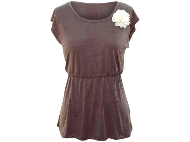 Deep Taupe V-Back Short Sleeve Flared Top With Rosette