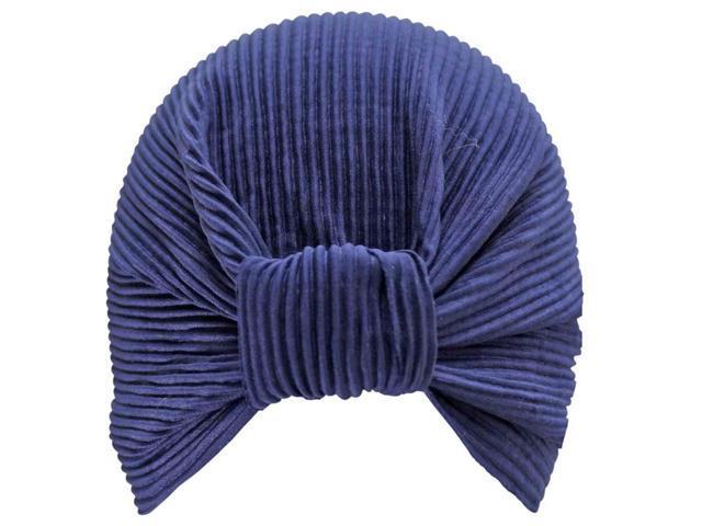Navy Blue Thin Pleated Polyester Turban Sun Cap Hat