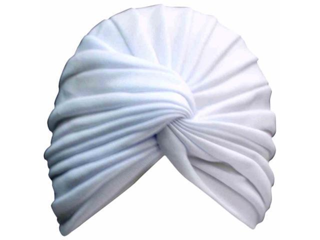White Radiant Pleated Turban Bathing Cap