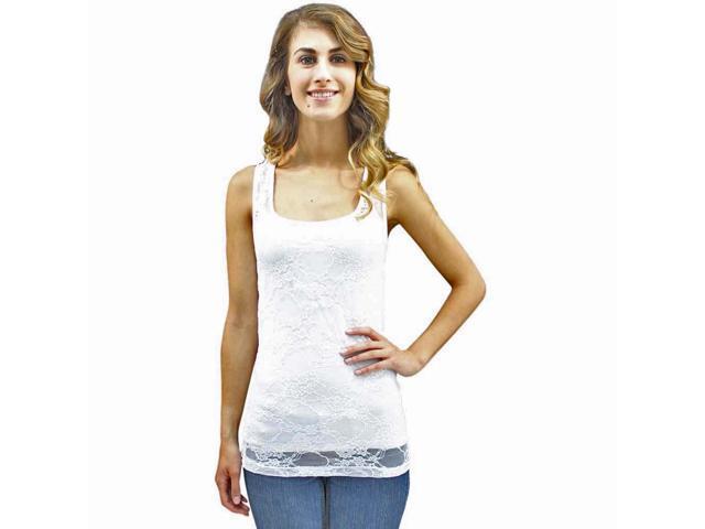White Camisole Junior Cut Lace See Thru Top