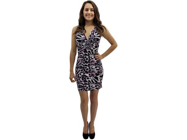 Purple Leopard Print Self Tie O-ring Halter Summer Sun Dress