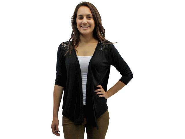 Black 3/4 Long Sleeve Cardigan Shrug With Lace Shoulders