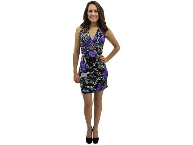 Purple Floral & Snake Print Self Tie O-ring Halter Summer Sun Dress