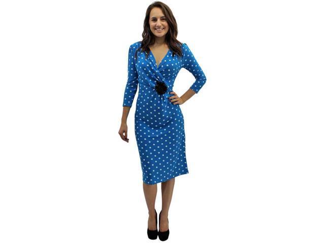 Blue & White Long Sleeve Polka Dot Below The Knee Dress