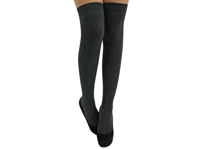 Gray Cable Knit Thigh High Over The Knee Socks