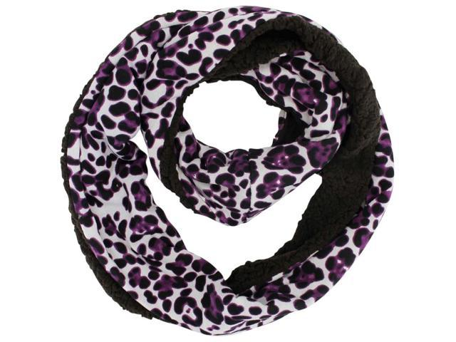 Purple Fleece Lined Leopard Infinity Scarf