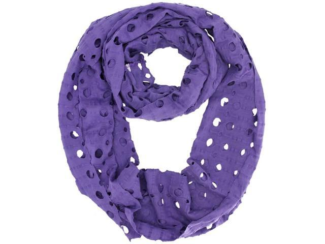 Purple Infinity Ring Scarf With Circle Cut-Outs