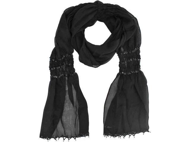 Sheer Black Beaded Wrap Shawl