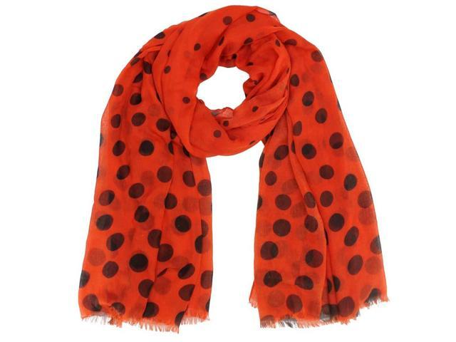 Red Big & Small Polka Dot Sheer Scarf Wrap