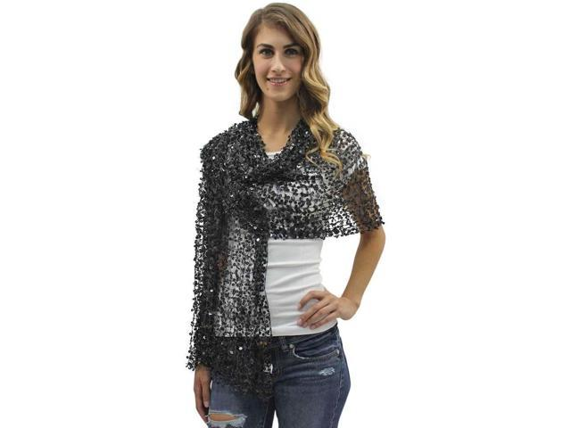 Black Sequin Evening Shawl Wrap