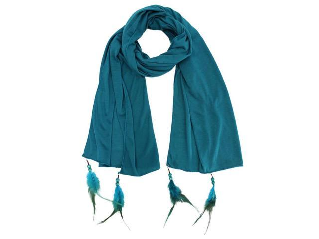 Turquoise Long Scarf With Feather Tips