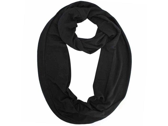 Black Lightweight Jersey Knit Ring Scarf