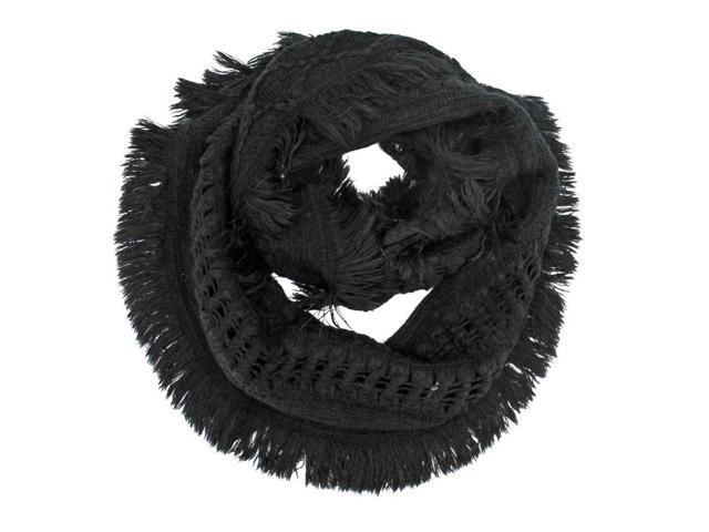 Black Wispy Shag Knit Ring Scarf