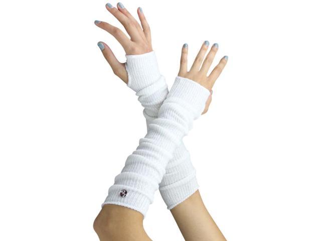 White Long Arm Warmers With Thumb Hole