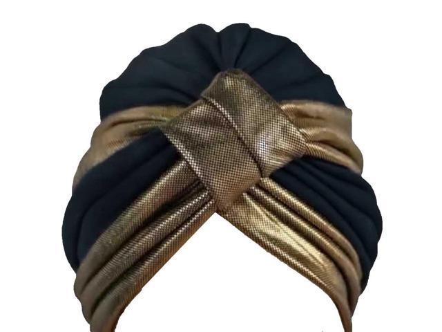 Black & Gold Turban Hat Head Cover Sun Cap