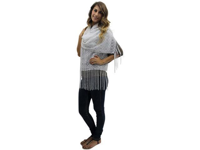 White Lightweight Metallic Lace Shawl Wrap
