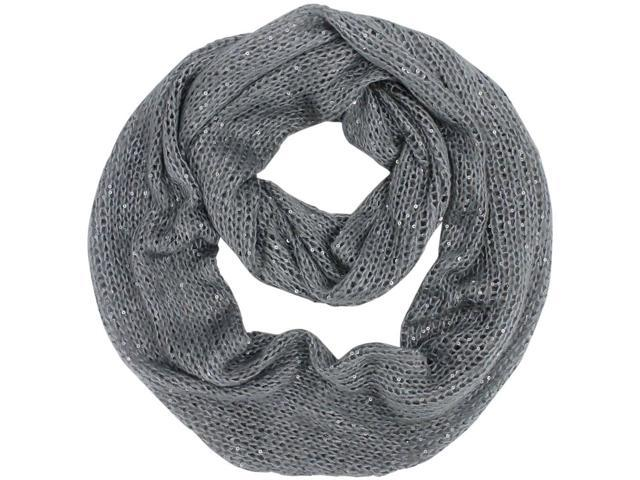 Gray Sequin Specked Knit Infinity Scarf
