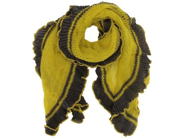 Mustard Yellow & Gray Thin Crochet Knit Scarf