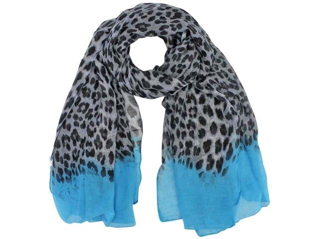 Blue Ombre Sheer Animal Print Scarf