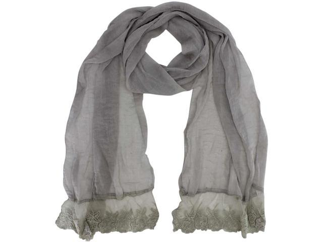 Gray Sheer Lace Scarf Wrap With Lace Trim