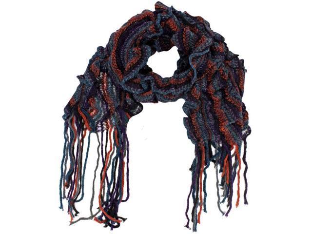 Blue Orange Spiral Ruffle Knit Scarf