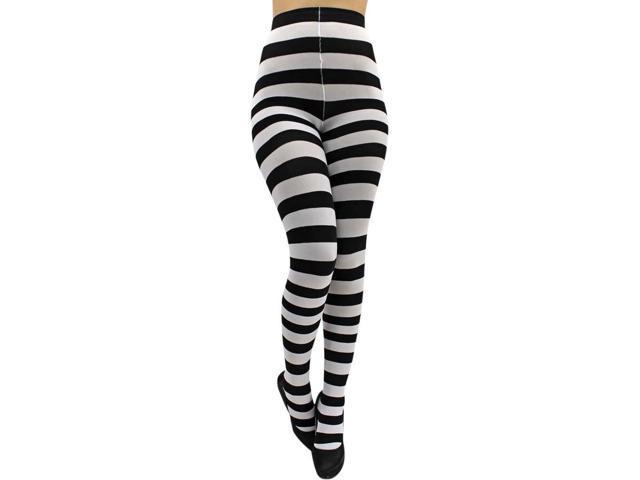 Black & White Horizontal Wild Striped Tights Leggings