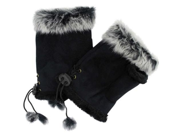 Black Fingerless Gloves With Rabbit Fur Trim