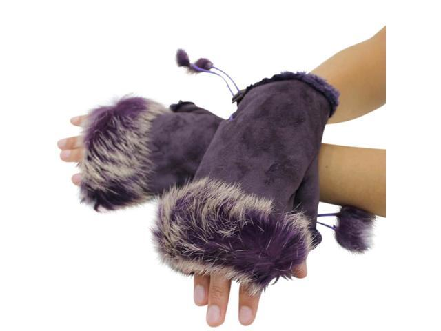 Purple Fingerless Gloves With Rabbit Fur Trim