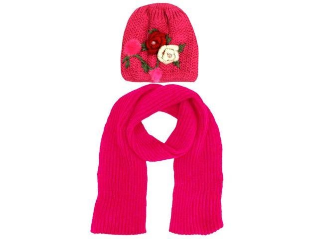 Pink Knit 2 Piece Hat & Scarf Set With Rosette