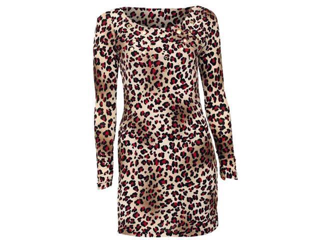 Cheetah & Fuchsia Print Tunic Dress With Grommet Peep Holes
