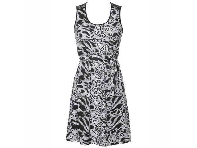 Black & White Animal Print Empire Waist Sleeveless Dress With Lace Back
