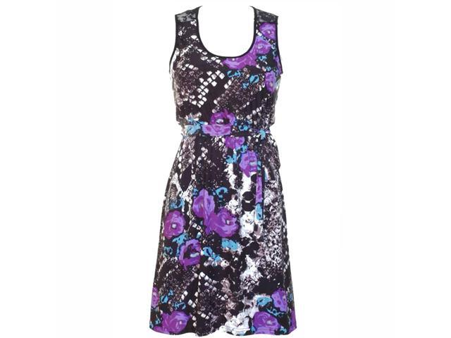 Purple Floral Animal Print Empire Waist Sleeveless Dress With Lace Back