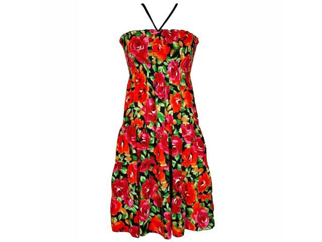Colorful Red Rose Print Halter Style Sun Dress
