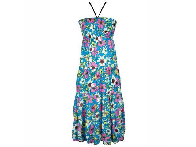 Turquoise & Pink Multicolor Flower Print Long Maxi Halter Sun Dress