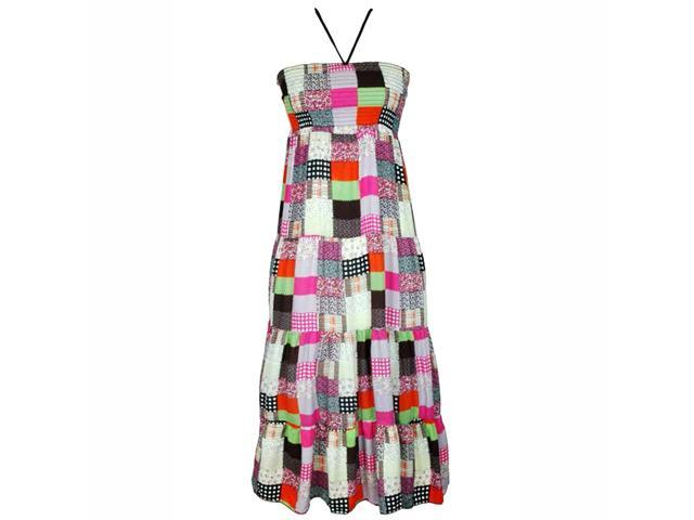 Multicolor Quilted Pattern Long Maxi Halter Sun Dress
