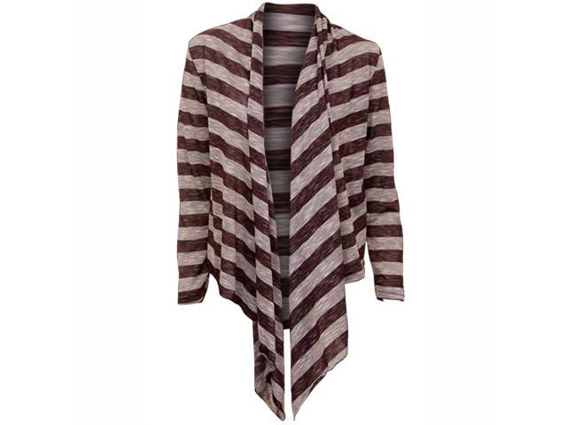 Striped Brown Long Sleeve Flowing Shrug Sweater