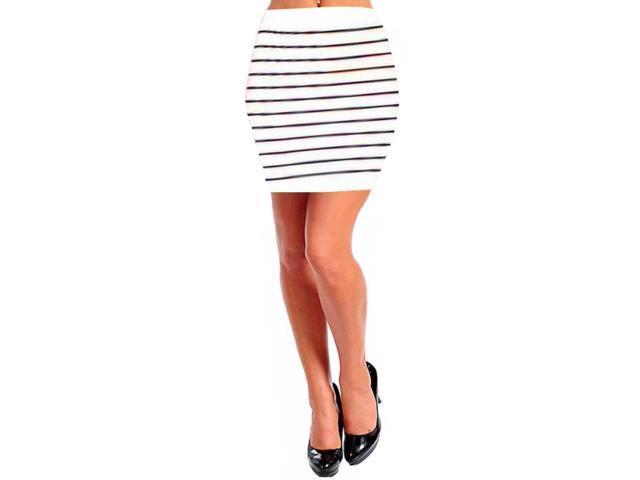 White & Black Striped Bodycon Pencil Mini Skirt-Newegg.com