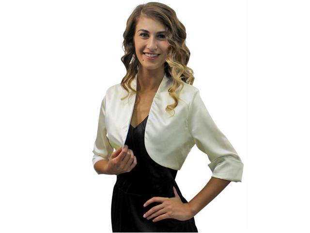 Ivory 3/4 Sleeve Satin Bolero Shrug Jacket