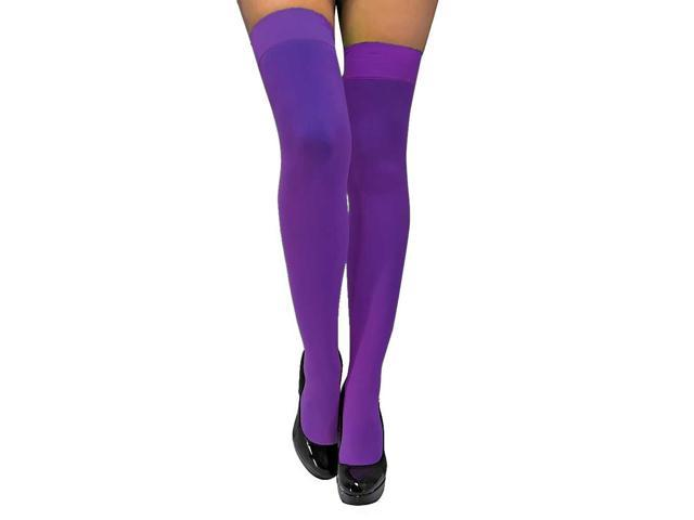 Purple Semi Opaque Thigh High Stockings