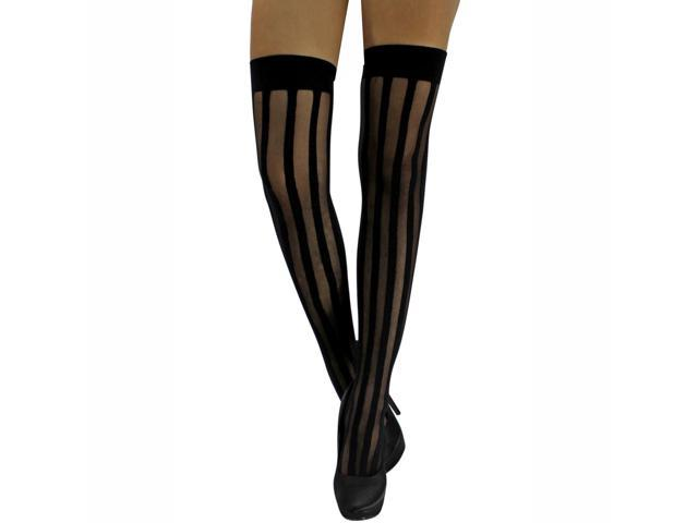 Vertical Striped Black Thigh High Stockings