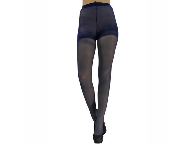 Navy Blue Spandex Sheer Control Top Tights