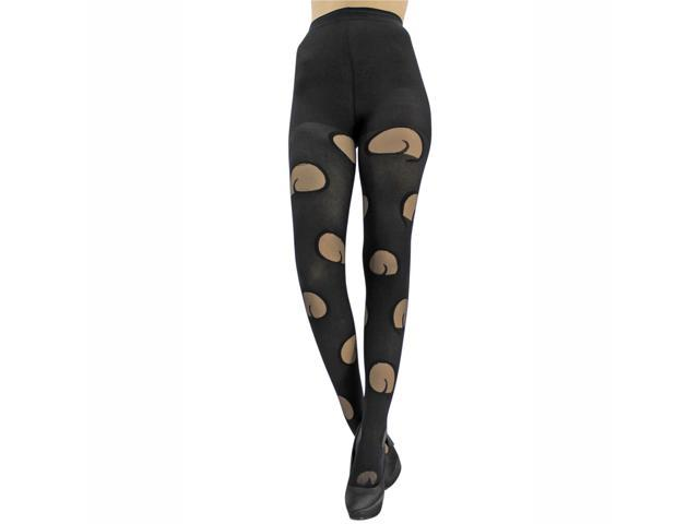 Black Squiggle Cut-Out Tights