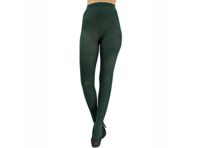 Dark Green Semi Sheer Ribbed Knit Nylon Tights